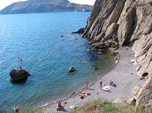 Пляж под седлом в Орджоникидзе - Крым.